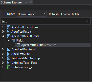 The search filter in the Schema Explorer for your object and their fields