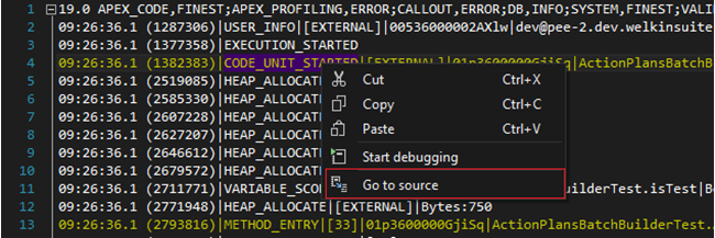 Go to an Apex code right from the Debug Log file
