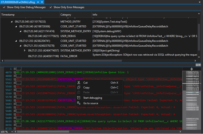 Salesforce Debug Logs viewer in The Welkin Suite