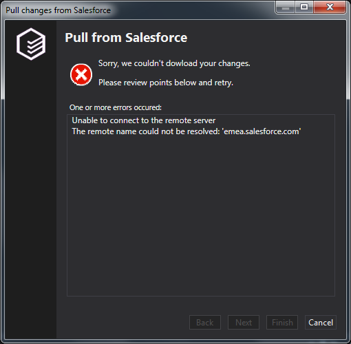 Pull from Salesforce failure