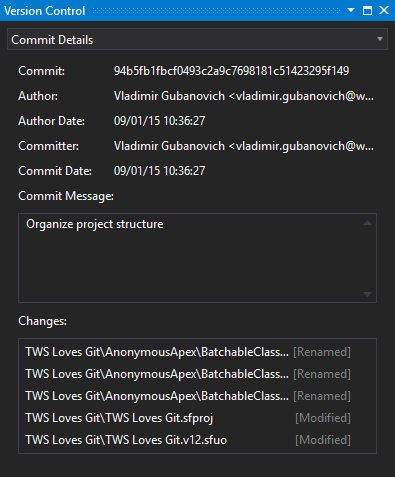 Commit details for each change in the version control in TWS
