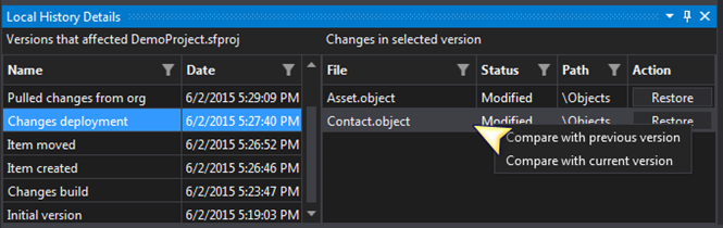 Compare current selected version of a file with the current of previous version