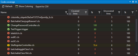The Code Coverage panel with the update UI