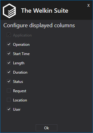 Configure displayed columns in the Logs panel