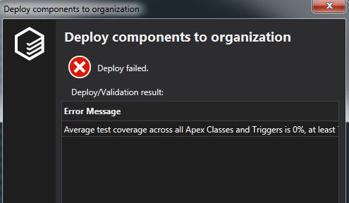 Failed Deployment process due to the Code Coverage data on an Org