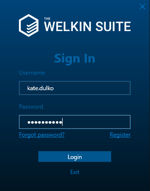 Log in to The welkin Suite IDE for the registered user