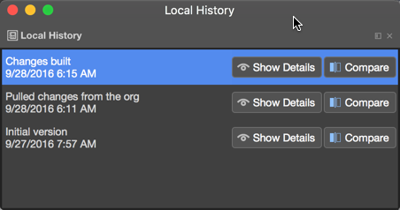 Local History panel for the version control in TWS
