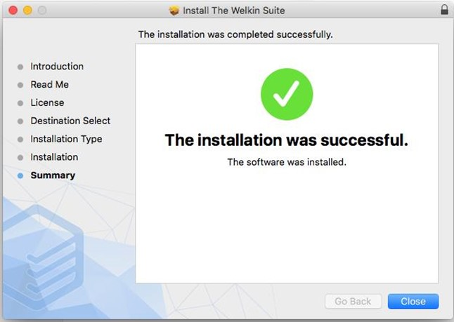 The installation of The welkin Suite for Mac process