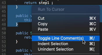 Comment code blocks inside the code editor