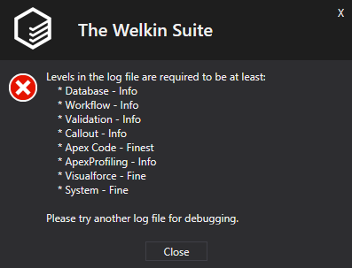 Required Debug Log Levels in the error description