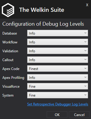 Ability to Set Retrospective Debugger Log Levels in one click