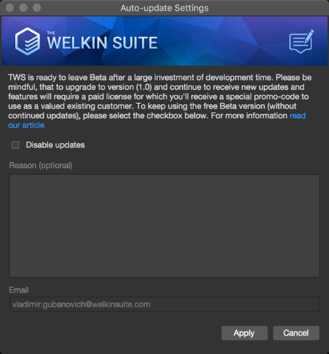The auto update settings for the upcoming The Welkin Suite Nove version
