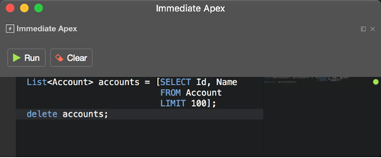 Immediate Apex excution in the IDE