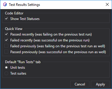 Test Results Settings Window