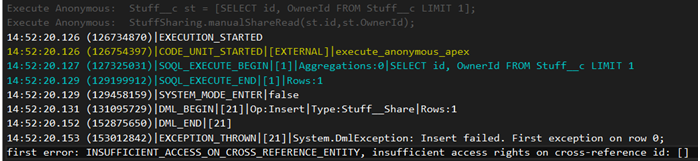 Exception with creating share object for owner 2