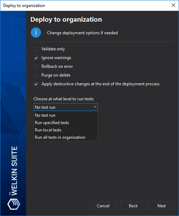 Option for deployment process