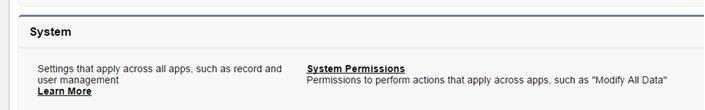 System Permissions for All Data
