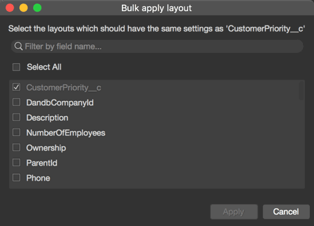 Bulk apply for layout and fields in sObject Inspector