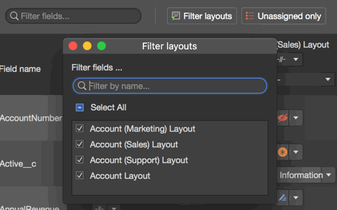 Filtering option ofr feilds and layouts