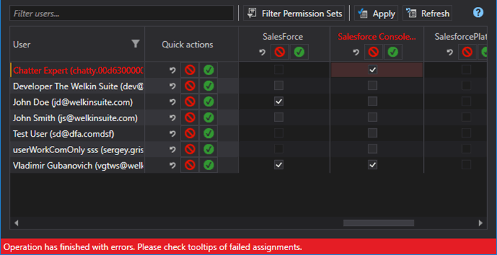 Errors in the process of assignments permission set