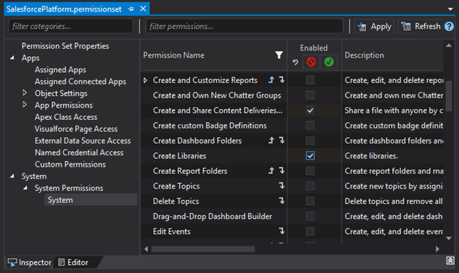 Permissions with dependencies in the IDE