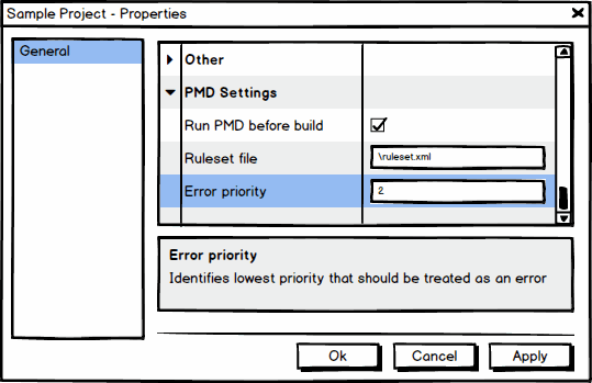 Project properties PMD