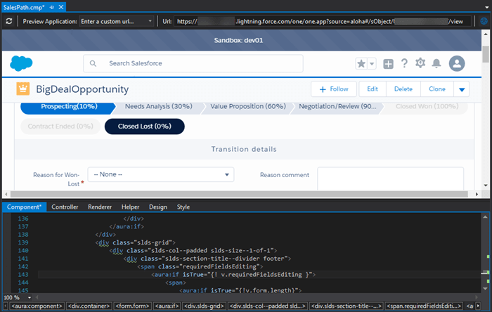 Lightning Components and Applications Previewer in Salesforce IDE