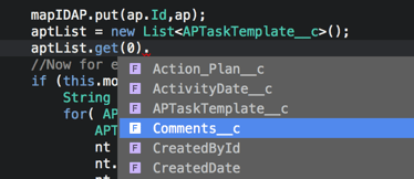 Completion Apex generins in the IDE