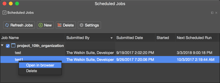 Context menu of a schedule job in The Welkin Suite