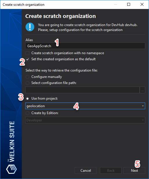 Creating a Salesforce DX Scratch organization in the GUI