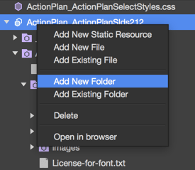 Available actions for a Static Resource in The Welkin Suite IDE