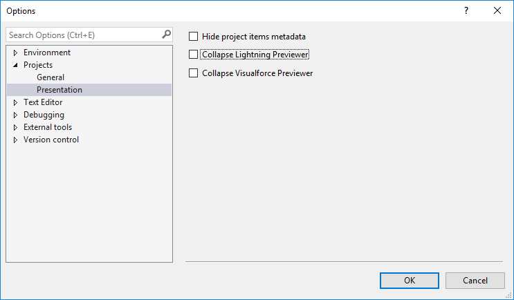 Default visibility settings for Visualforce and Lightning previewers in The Welkin Suite IDE