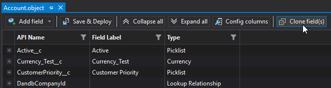 sObjects Inspector with the new Clone Fields option