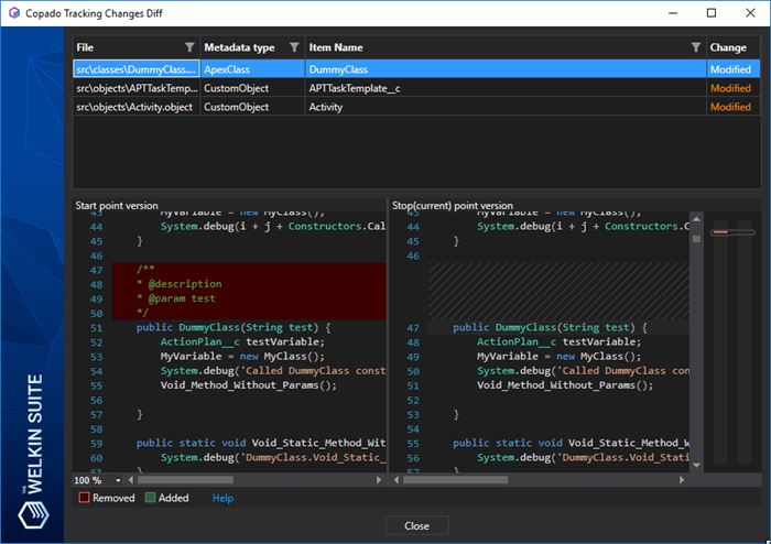 Viewing detailed diff for all changes related to the Copado user story in the IDE