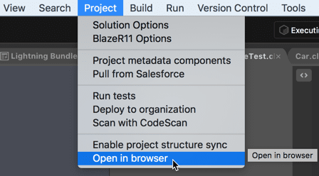 Open Salesforce organization in browser from the IDE