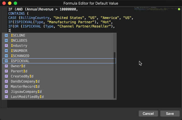 Modifying sObjects formula fields in the IDE with the built-in code completion