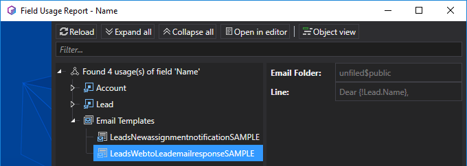 Showing field usage results in HTML version of Email Templates