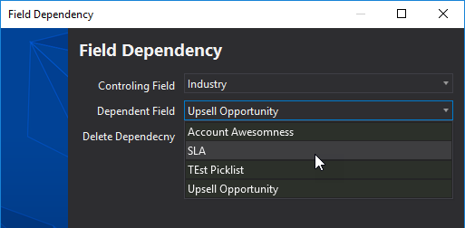 Creating a new picklist dependency for sObject in The Welkin Suite IDE