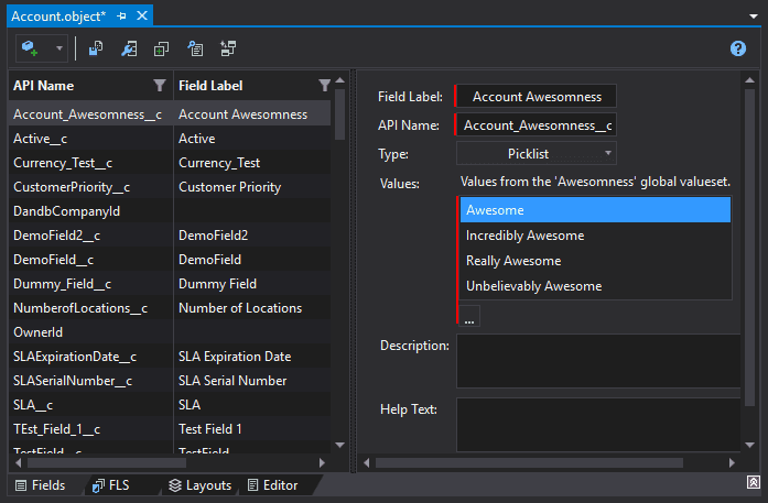 Displaying picklist values taken from the Picklist Value Set in the IDE