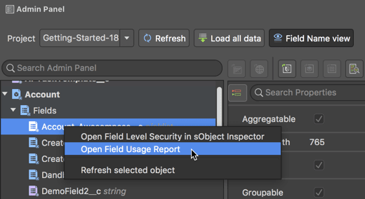 Calling Field Usage Report using the Admin Panel in The Welkin Suite IDE