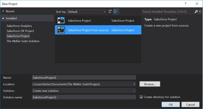 Creating a new Salesforce project from source in The Welkin Suite IDE