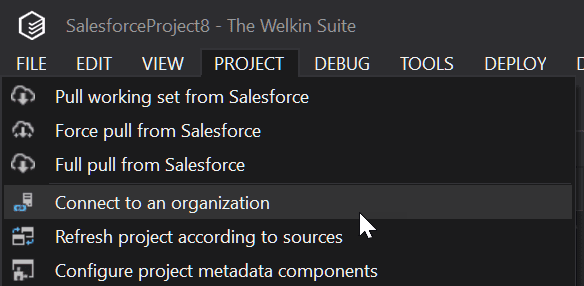 Menu items to connect Salesforce project to an organization