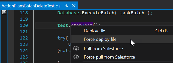 Quick deployment options for files directly from a context menu