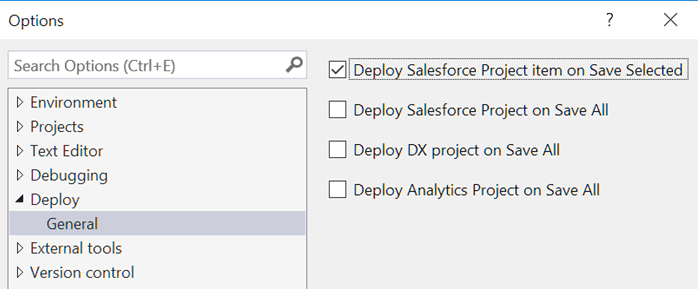 Various deploy on save options in The Welkin Suite