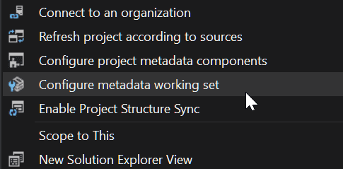 Context menu option to configure Salesforce metadata working set