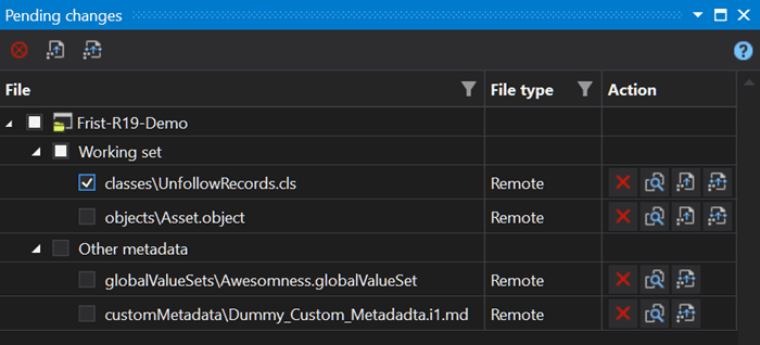 Updated pending changes panel in The Welkin Suite IDE with comparison, deploy, force deploy and discard options