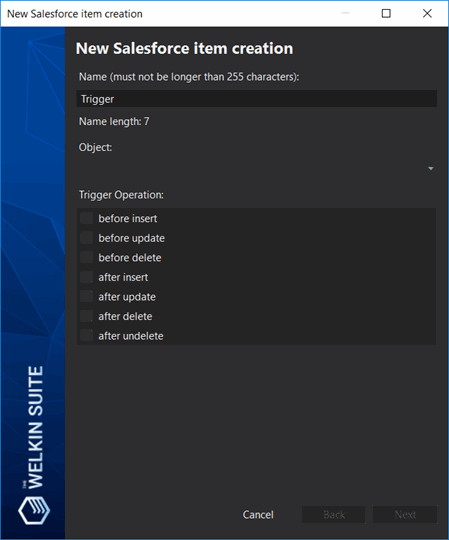Select the necessary trigger actions during a trigger creation