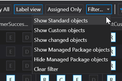 Additional filtering options in the Objects Permissions Editor in The Welkin Suite