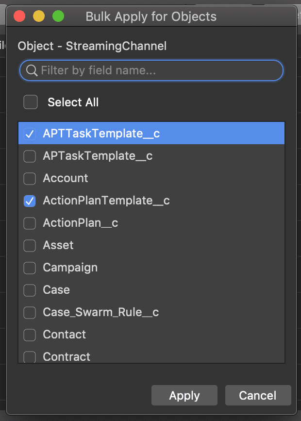 Saving time with bulk Applying objects permissions from one object to others