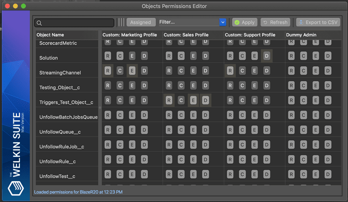 Compact layout for Objects Permissions Editor without the View All and Modify All buttons